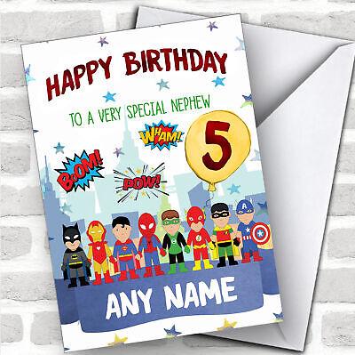 Personalized Boys Birthday Card Superhero 1St 2Nd 3Rd 4Th 5Th 6Th Nephew