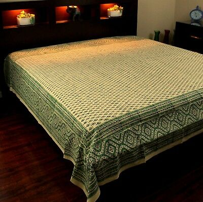 - Cotton Floral Block Print Tapestry Wall Hanging Tablecloth Bedspread Green Full