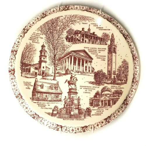 Vernon Kilns Pottery Historical Virginia State Plate in Mint Condition