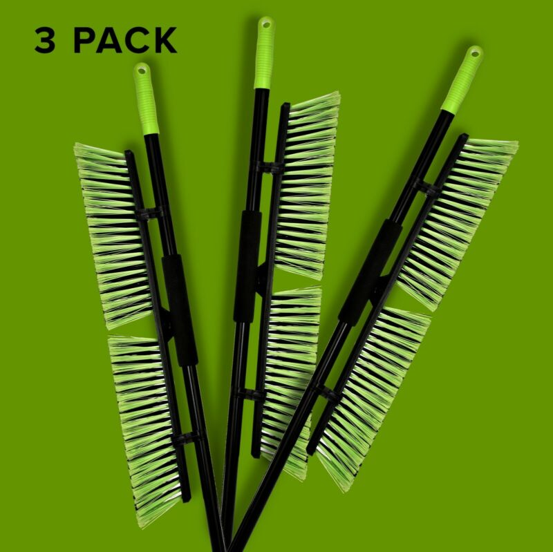 Alpine Industries 24 in. Green Multi-Surface Commercial Push Broom 3 Pack Brooms