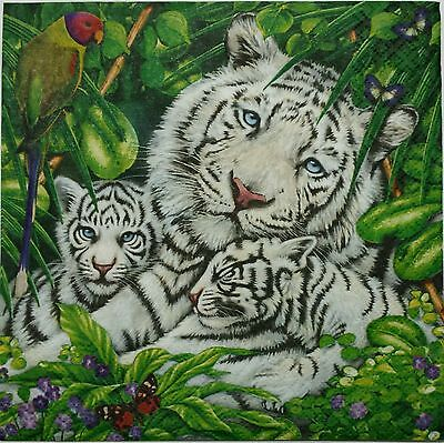 WHITE TIGER WITH CUBS TWO(2) single LUNCH size paper napkins for decoupage 3-ply