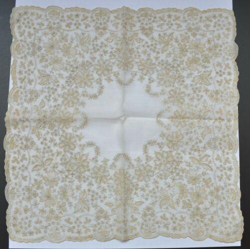 Vintage Linen WEDDING Handkerchief Hand Embroidered APPENZELL Drawn Thread Work