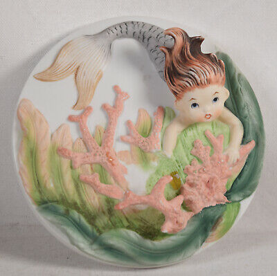Vintage Lefton Auburn Mermaid 3D Wall Plaque w Coral](Auburn Mermaids)