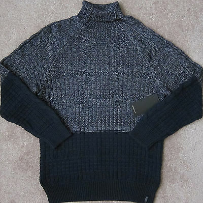 Calvin Klein Jeans (Marineblau Armada) Farbblock Kabel Pullover Herren Nwt