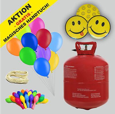 Helium Ballongas Set mit 50 bunten Luftballons und Bänder AKTION Gratis Beilage