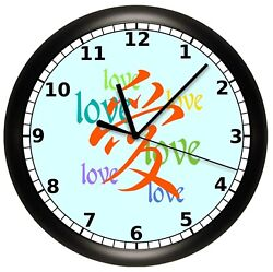 DECORATIVE CHINESE LOVE LANGUAGE WALL CLOCK LETTERS ART DECOR ASIAN GIFT