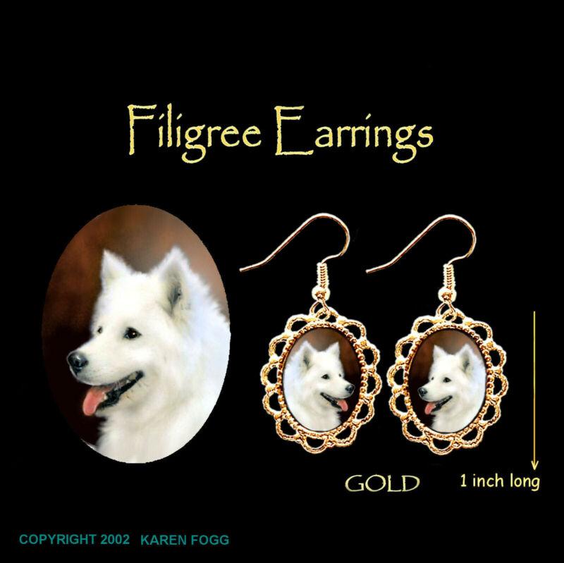 SAMOYED DOG - GOLD FILIGREE EARRINGS Jewelry