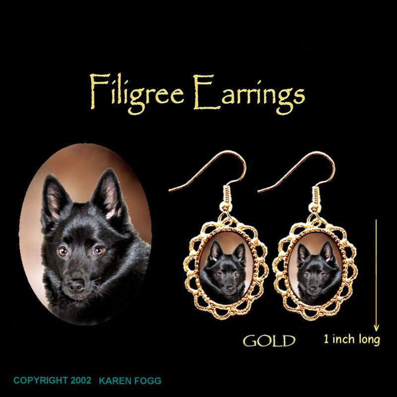 SCHIPPERKE DOG - GOLD FILIGREE EARRINGS Jewelry