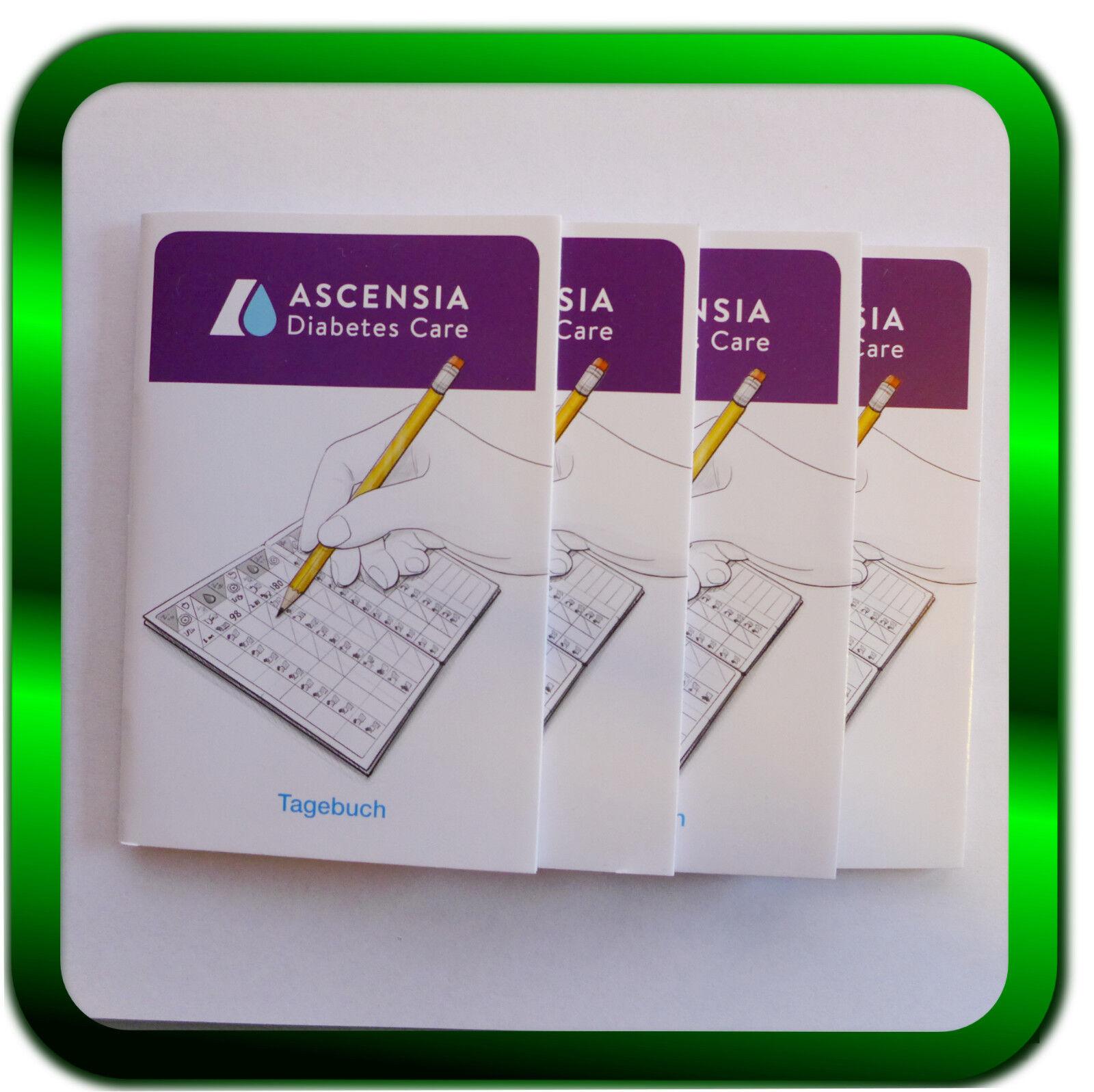 Blutzucker Tagebücher 4 Stück * Tagebücher Diabetes  ASCENSIA  (1St./0,74€)
