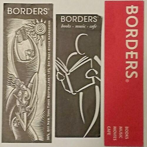 Rare 3 Piece Lot, Borders Bookstore & Cafe Bookmarks,  Illinois locations