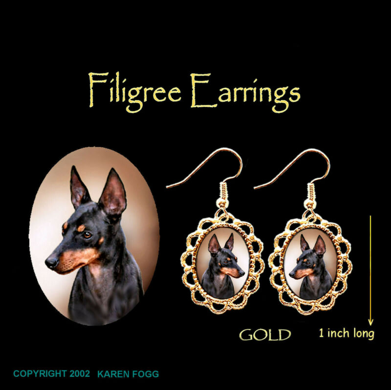 TOY MANCHESTER TERRIER DOG - GOLD FILIGREE EARRINGS Jewelry