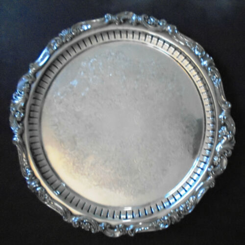 """Wallace Baroque Pierced Silver Plate 13"""" Bun Footed Round Serving Tray  296"""