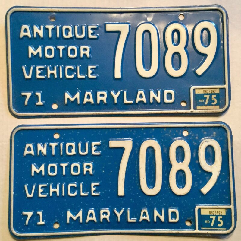 1971 Maryland Antique Motor Vehicle Pair Of License Plates 7089