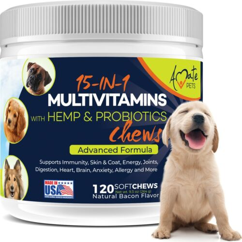 15-In-1 Multivitamin for Dogs - Probiotics, Hemp and Omega Dog Treats Amate Pets