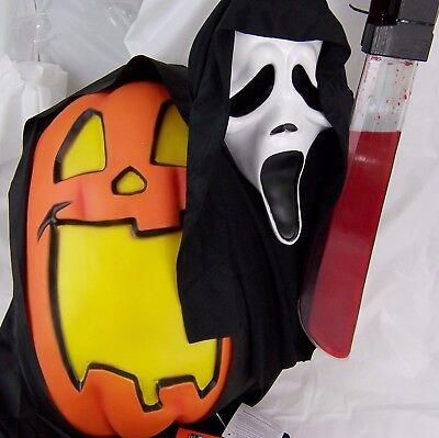 Lighted Talking Pumpkin,Sound Sensor,Bloody Knife,SCREAM 4 Skull Halloween Mask ](Scream Knife)