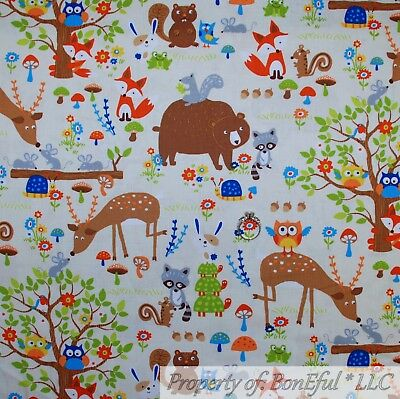 BonEful FABRIC FQ Cotton Quilt White Brown Green Tree Woodland Animal Bear - Woodland Animal
