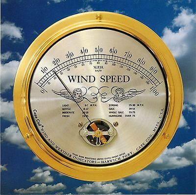 Wind Speed Instrument : Solid Brass Case, Cape Cod Wind & Weather - Made in - Outdoor Metal Weather Clock