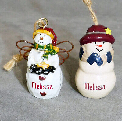 Christmas Ornament FEATHER TREE Ceramic SNOWMAN Porcelain MELISSA Lot of 2