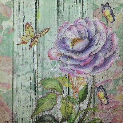 3 x Single Paper Napkins Decoupage Craft Tissue Purple Flower & Butterfly M128