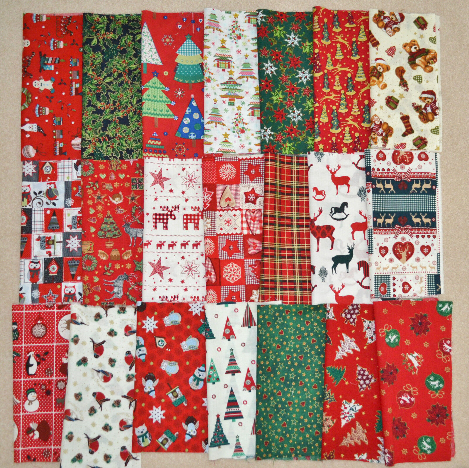 Christmas fabric patchwork quilting crafts remnants bundle for Fabric remnants