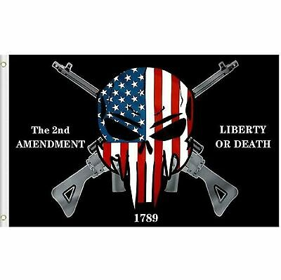 Liberty or Death Punisher 2nd Amendment 1789 Gun Rights Flag 3×5 Grommets (TOPW) Décor