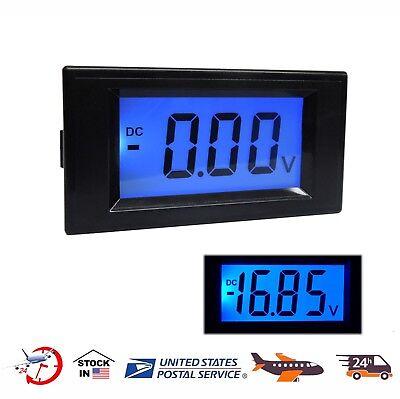 Dc0-100v Digital Blue Lcd Volt Voltage Car Motorcycle Monitors Voltage Meter Us