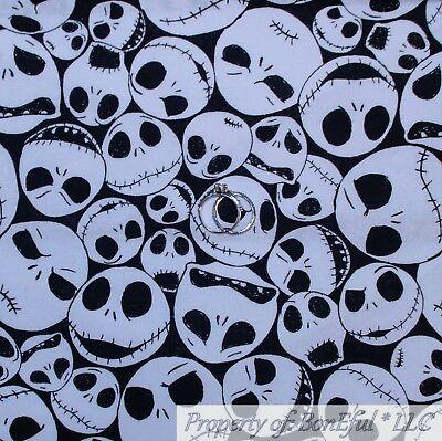 BonEful FABRIC FQ Cotton Quilt Black White B&W Skull Skeleton Face Girl Boy Xmas - Disney Jack Skellington Costume Kids