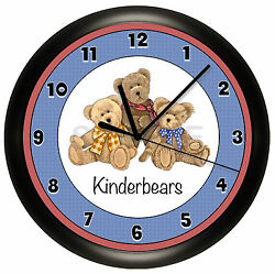 BEARS WALL CLOCK TEDDY KIDS BEDROOM GIFT CUSTOM DECOR GIFT BEAR PERSONALIZED