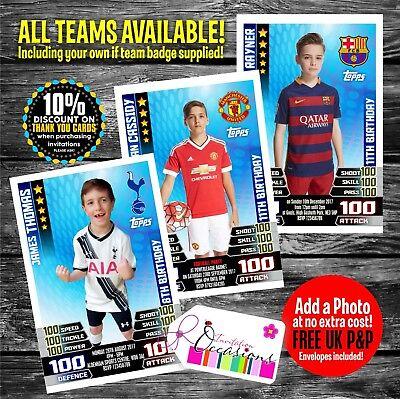 Match Attax Card Style Personalised Birthday Invitations Football Party x 5 (Football Birthday Invitations)
