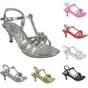 GIRLS-PARTY-SANDALS-BLACK-SILVER-GOLD-DIAMANTE-DETAIL-HEEL-PLATFORM-SIZE-11-3