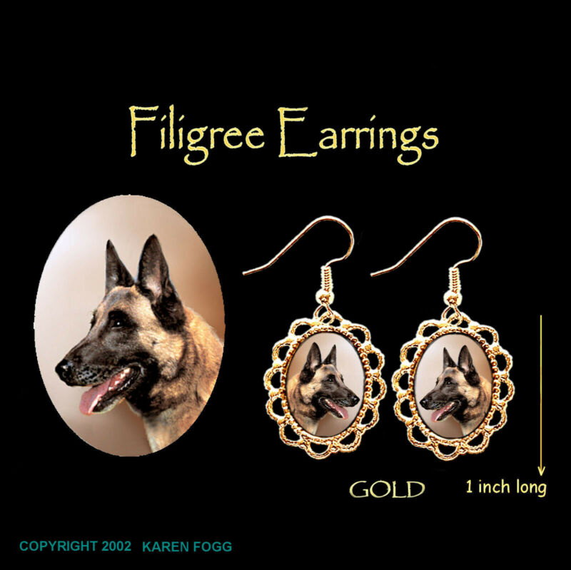 BELGIAN MALINOS DOG - GOLD FILIGREE EARRINGS Jewelry