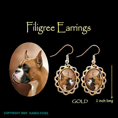 BOXER DOG Cropped Ears - GOLD FILIGREE EARRINGS Jewelry