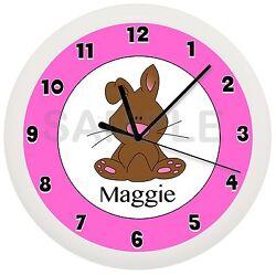 PERSONALIZED PINK BUNNY RABBIT WALL CLOCK DECOR PET SMALL ANIMAL GIRLS ROOM
