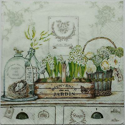 VINTAGE GARDEN 2 single LUNCH SIZE paper napkins for decoupage 3-ply