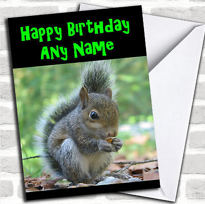 Grey Squirrel Personalized Birthday - Personalized Birthday Cards
