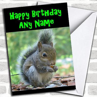 Grey Squirrel Personalized Birthday Card - Personalized Birthday Cards