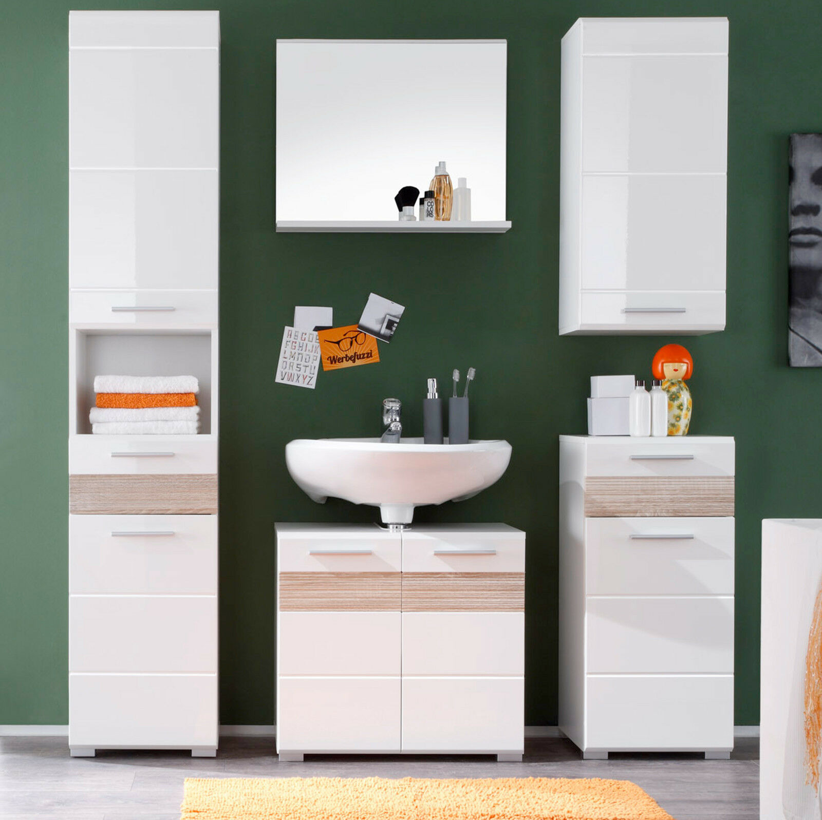 bad schrank unterschrank mezzo in weiss hochglanz eiche hell badezimmer kommode eur 69 99. Black Bedroom Furniture Sets. Home Design Ideas