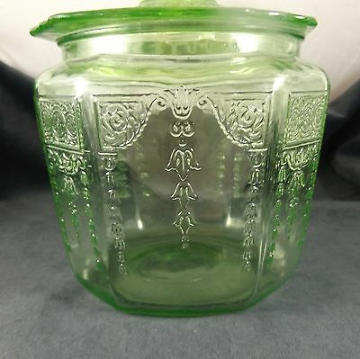 Depression Green Glass  Cookie Jar PRINCESS by Hocking Glass Co. 1931-35