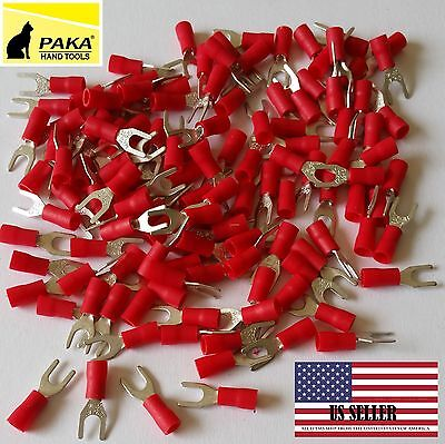 200 Spade Fork Terminal Vinyl Insulated Red 22-16 Wire Size 8 Stud Size 4.3mm