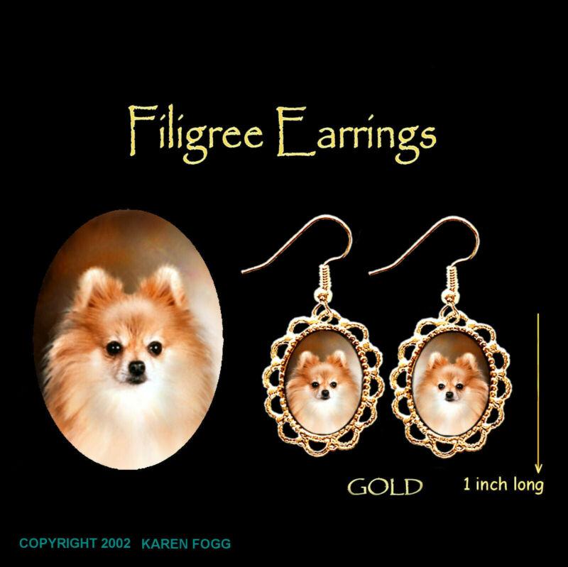 POMERANIAN DOG Red POM - GOLD FILIGREE EARRINGS Jewelry