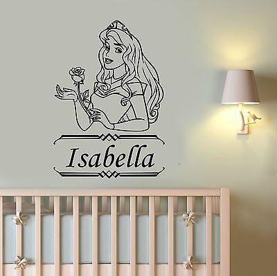 Disney Princess Aurora Custom Name Wall Sticker Personalized Vinyl Decal Art pr1