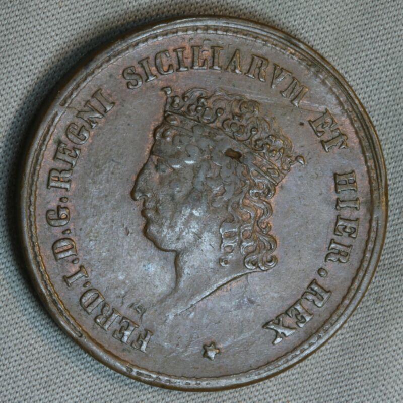 1819 Kingdom Naples Sicily 5 Tornesi aUNC AU About UNC MS Italy World SK399