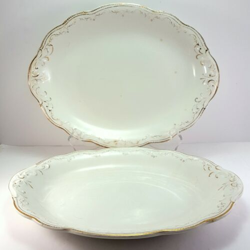 """WH Grindley 520 Oval Platters 12"""" Set of 2 White Gold Antique Dish"""
