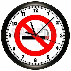 no smoking sign wall clock restaurant business smoke hospital doctors office. Black Bedroom Furniture Sets. Home Design Ideas