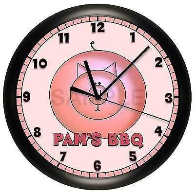 PERSONALIZED PIG WALL CLOCK PINK ART DECOR BEDROOM PIG ANIMAL (Personalized Pig)