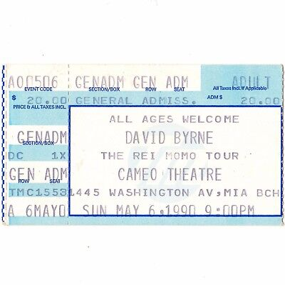 DAVID BYRNE Concert Ticket Stub MIAMI BEACH 5/6/90 CAMEO THE TALKING HEADS Rare