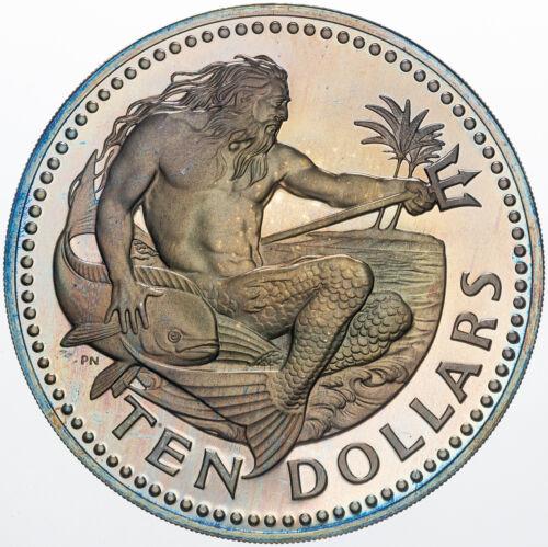 1973 BARBADOS TEN DOLLARS SILVER UNIQUE MULTI TONED COLOR BU SELECT UNC GEM (MR)