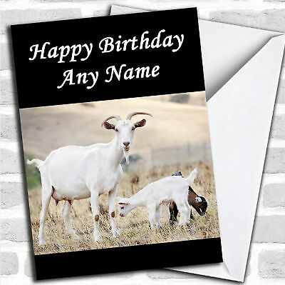 Goat & Baby Personalized Birthday Card - Personalized Birthday Cards