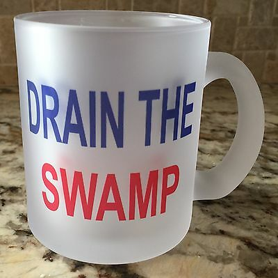 Frosted Glass Coffee Tea Mug Cup Trump Make America Great Again Drain The Swamp