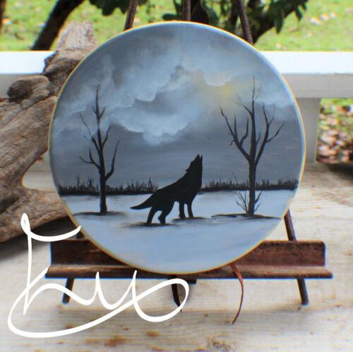 "10"" Native American Deer hand Drum w/ Wolf Painting Cherokee made Cert of Auth"